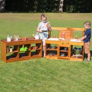 Wooden Outdoor Kitchen & Bench